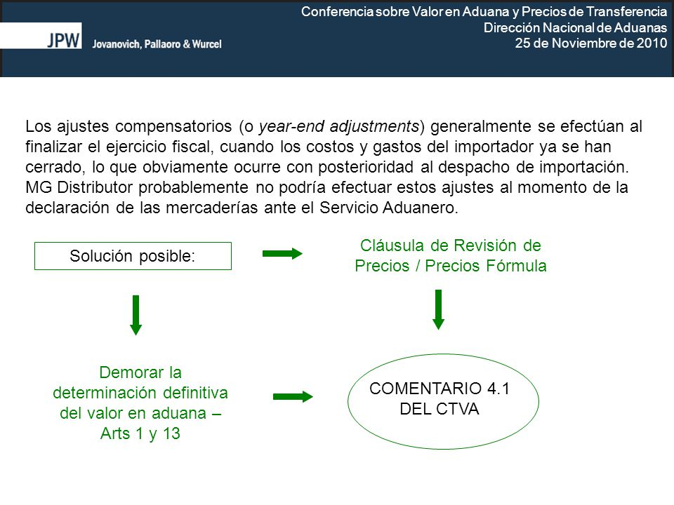 Cláusula de Revisión de Precios / Precios Fórmula Solución posible: