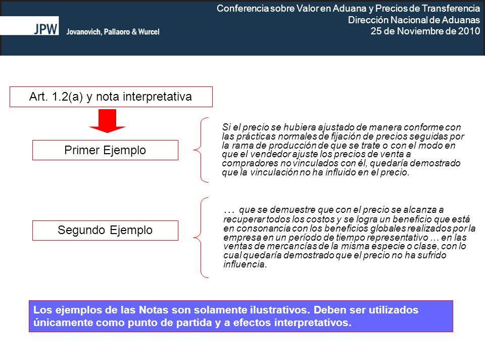 Art. 1.2(a) y nota interpretativa