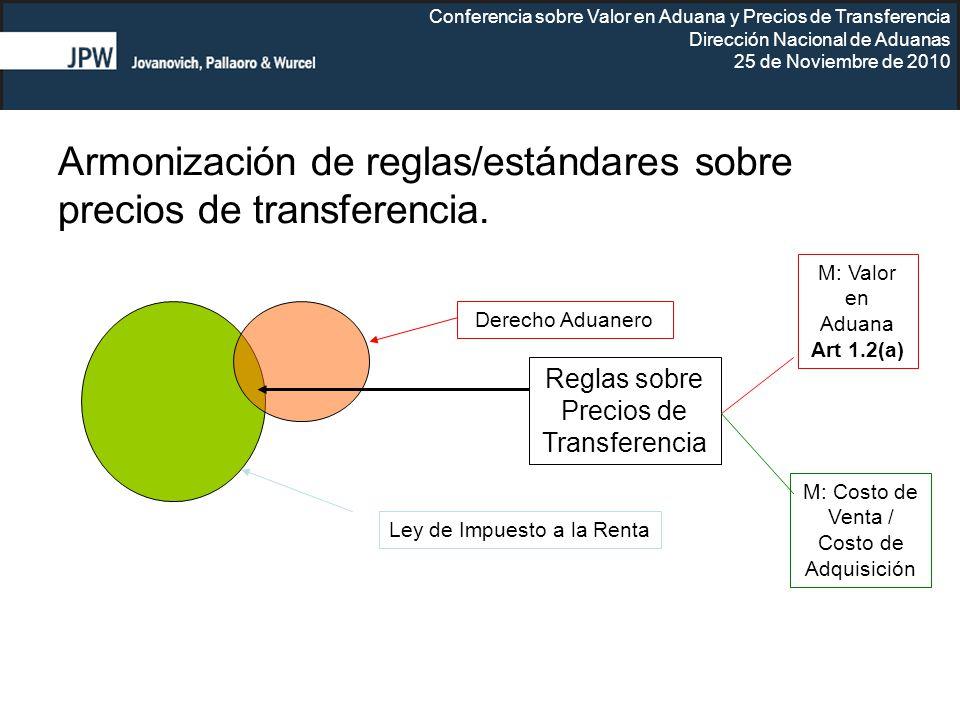 Armonización de reglas/estándares sobre precios de transferencia.