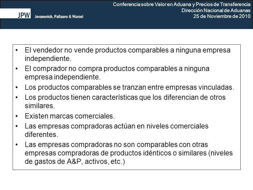 El vendedor no vende productos comparables a ninguna empresa independiente.