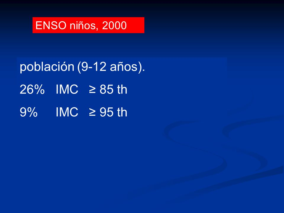 población (9-12 años). 26% IMC ≥ 85 th 9% IMC ≥ 95 th ENSO niños, 2000