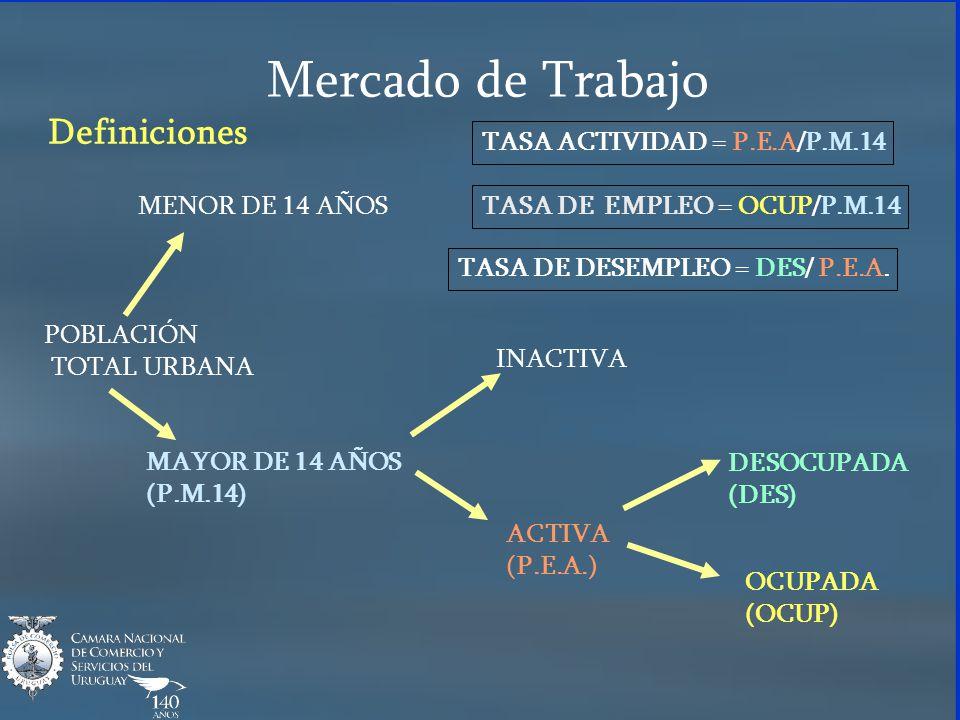 Mercado de Trabajo Definiciones TASA ACTIVIDAD = P.E.A/P.M.14