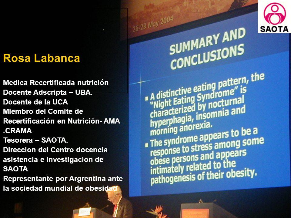 Rosa Labanca Medica Recertificada nutrición Docente Adscripta – UBA.