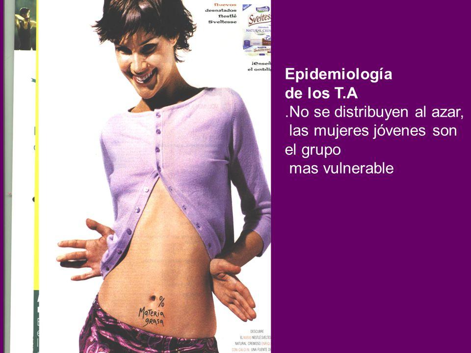 Epidemiología de los T.A. .No se distribuyen al azar, las mujeres jóvenes son el grupo.
