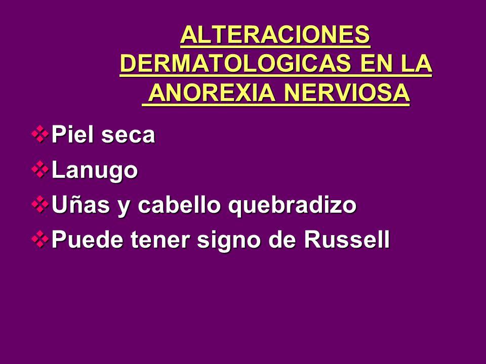 ALTERACIONES DERMATOLOGICAS EN LA ANOREXIA NERVIOSA