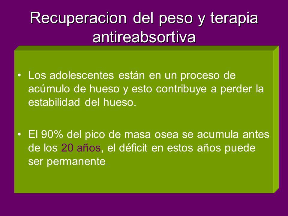 Recuperacion del peso y terapia antireabsortiva