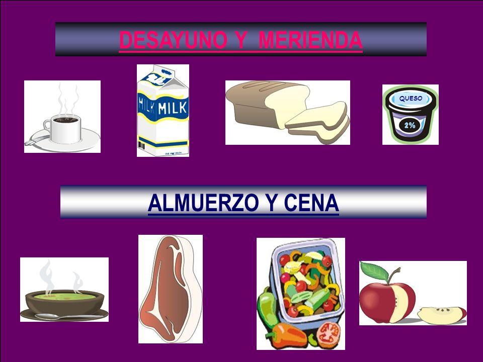 DESAYUNO Y MERIENDA ALMUERZO Y CENA