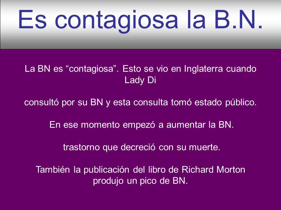 Es contagiosa la B.N. La BN es contagiosa . Esto se vio en Inglaterra cuando Lady Di. consultó por su BN y esta consulta tomó estado público.