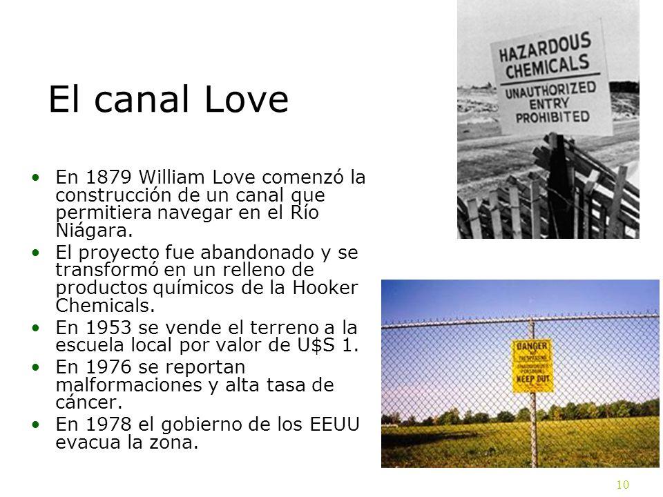 El canal Love En 1879 William Love comenzó la construcción de un canal que permitiera navegar en el Río Niágara.