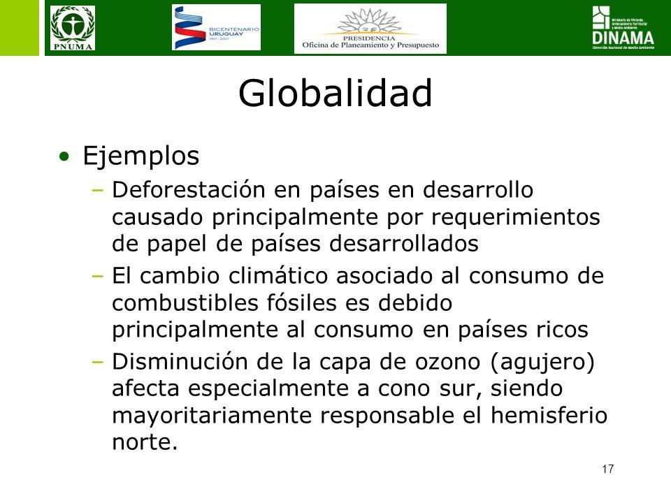 Globalidad Ejemplos. Deforestación en países en desarrollo causado principalmente por requerimientos de papel de países desarrollados.