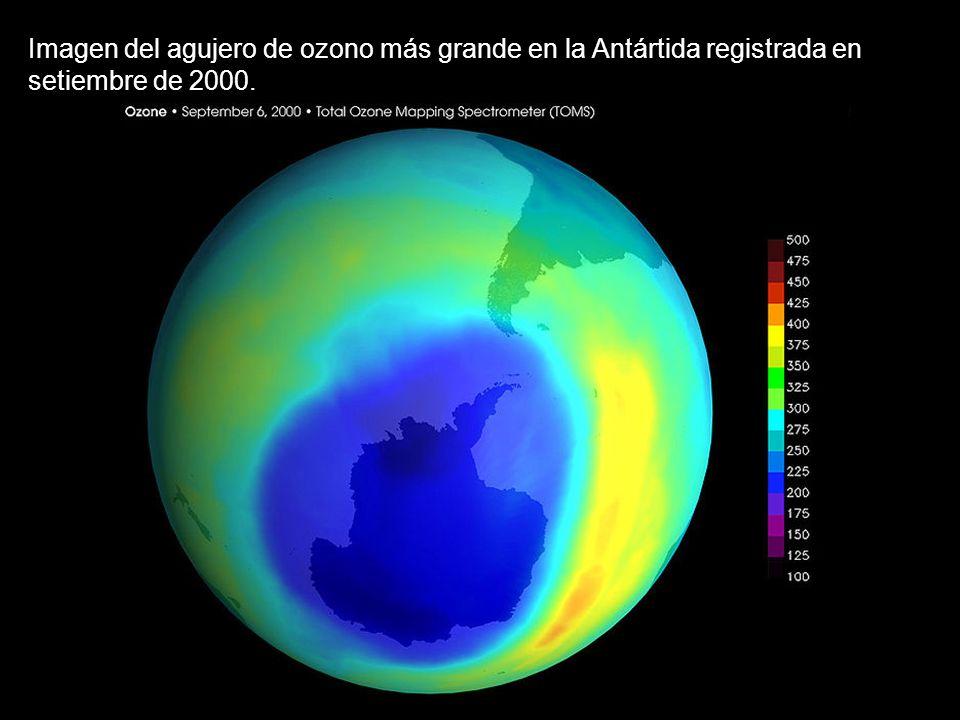 Imagen del agujero de ozono más grande en la Antártida registrada en setiembre de 2000.
