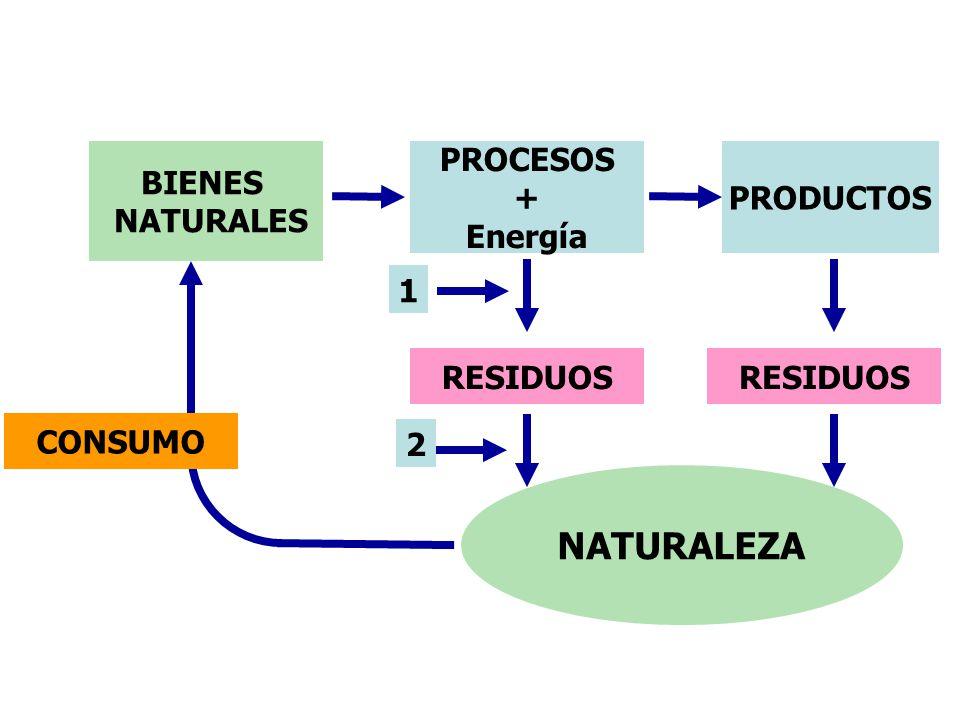 NATURALEZA BIENES NATURALES PROCESOS + Energía PRODUCTOS 1 RESIDUOS