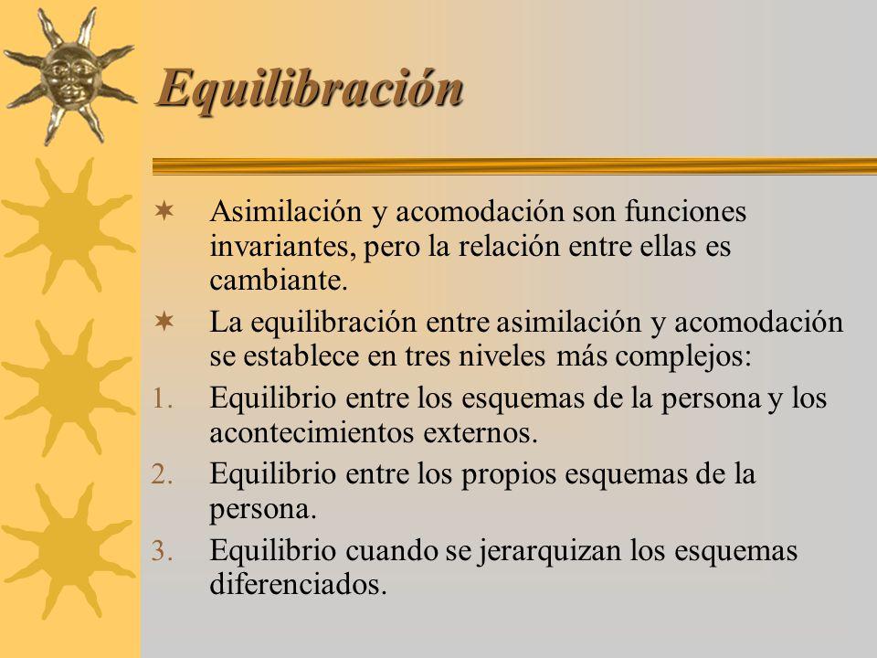 Equilibración Asimilación y acomodación son funciones invariantes, pero la relación entre ellas es cambiante.