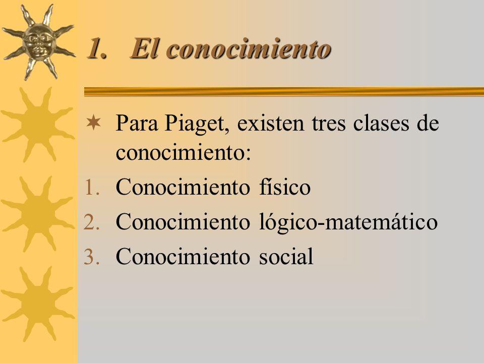 El conocimiento Para Piaget, existen tres clases de conocimiento: