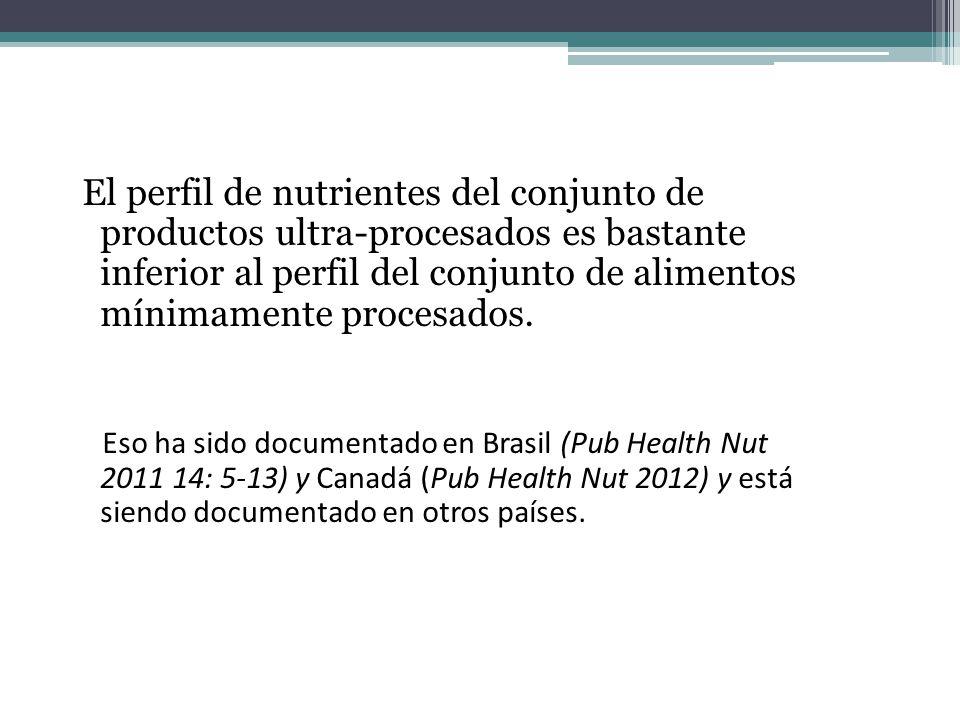 El perfil de nutrientes del conjunto de productos ultra-procesados es bastante inferior al perfil del conjunto de alimentos mínimamente procesados.