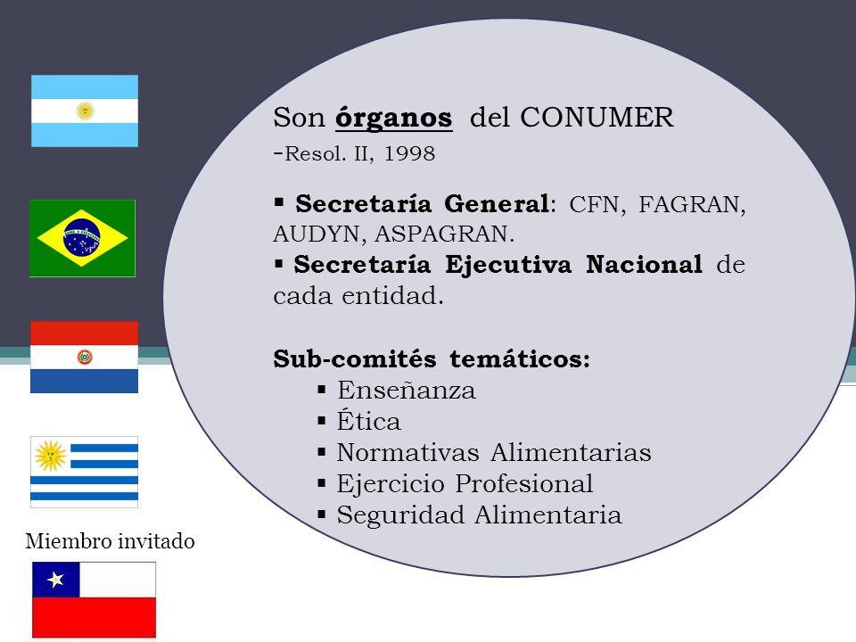 Son órganos del CONUMER -Resol. II, 1998