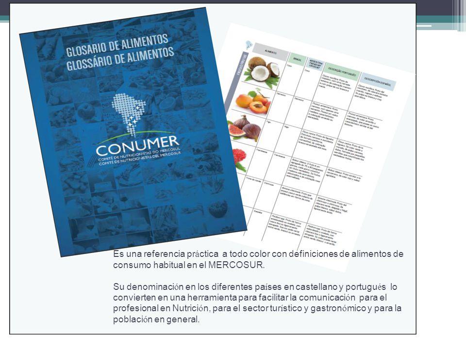 Es una referencia práctica a todo color con definiciones de alimentos de consumo habitual en el MERCOSUR.