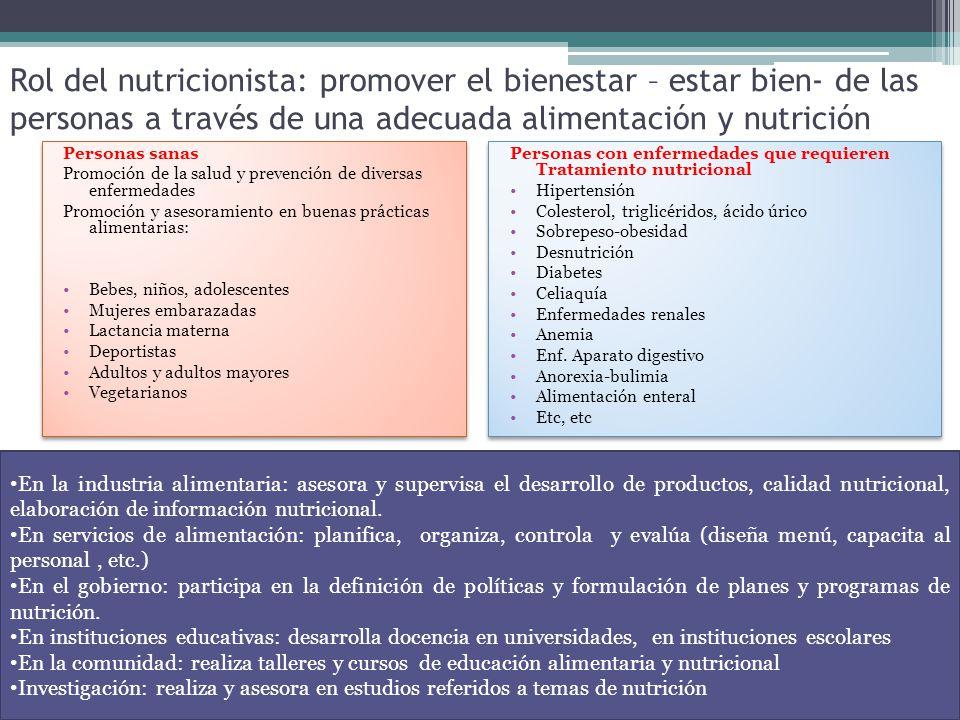 Rol del nutricionista: promover el bienestar – estar bien- de las personas a través de una adecuada alimentación y nutrición