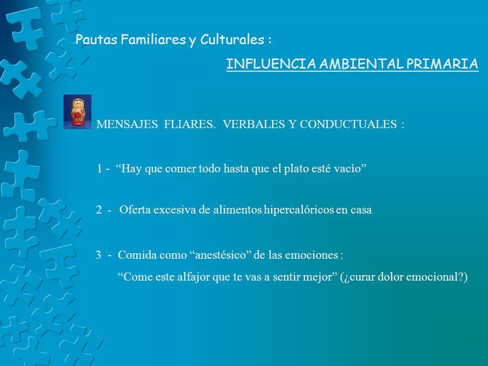 Pautas Familiares y Culturales : INFLUENCIA AMBIENTAL PRIMARIA