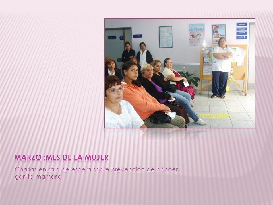 MARZO :MES DE LA MUJER Charlas en sala de espera sobre prevención de cáncer génito-mamario