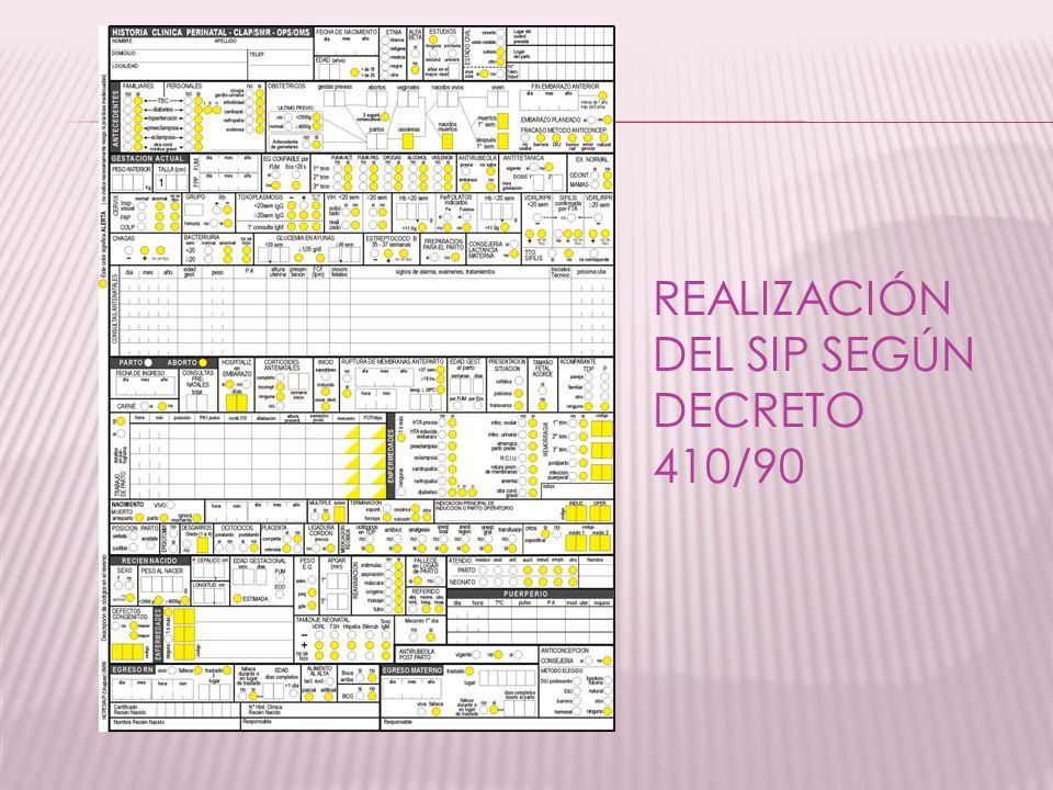 REALIZACIÓN DEL SIP SEGÚN DECRETO 410/90
