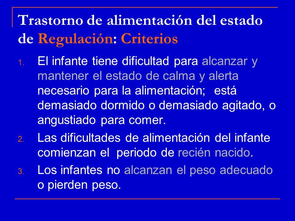 Trastorno de alimentación del estado de Regulación: Criterios
