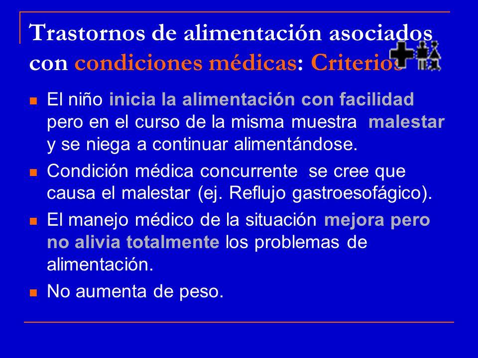 Trastornos de alimentación asociados con condiciones médicas: Criterios