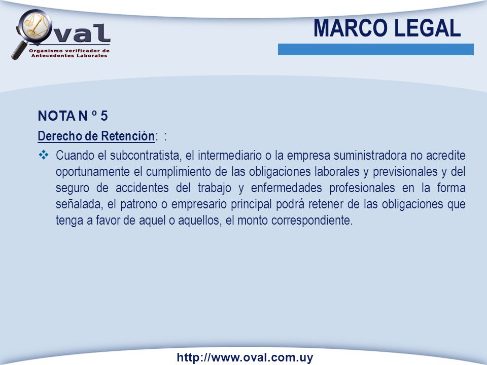 MARCO LEGAL NOTA N º 5 Derecho de Retención: :