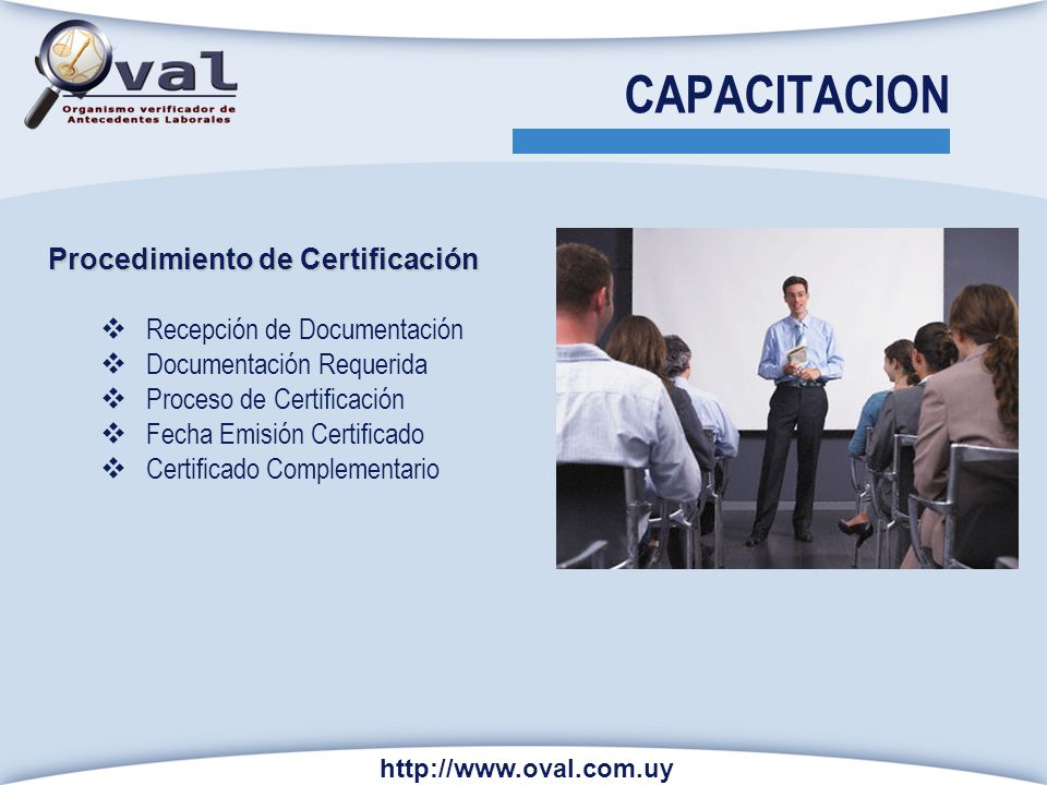 CAPACITACION Procedimiento de Certificación Recepción de Documentación