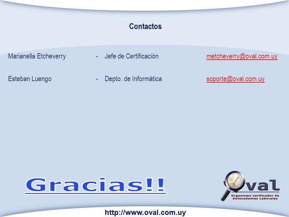 Contactos Marianella Etcheverry - Jefe de Certificación metcheverry@oval.com.uy. Esteban Luengo - Depto. de Informática soporte@oval.com.uy.