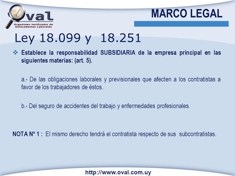 MARCO LEGAL Ley 18.099 y 18.251. Establece la responsabilidad SUBSIDIARIA de la empresa principal en las siguientes materias: (art. 5).