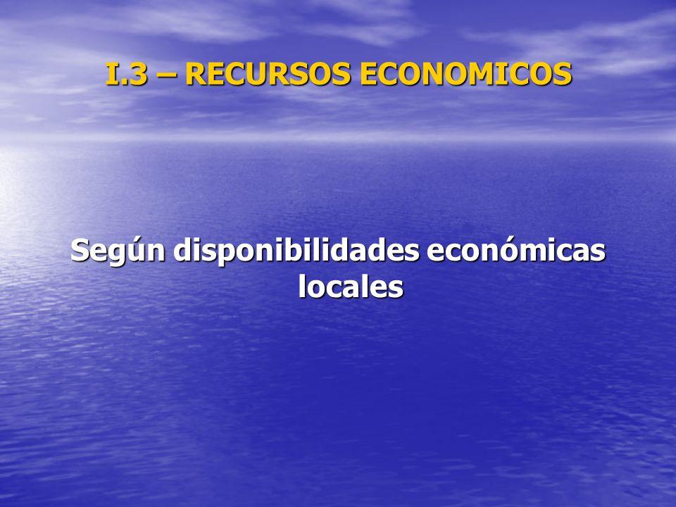 I.3 – RECURSOS ECONOMICOS