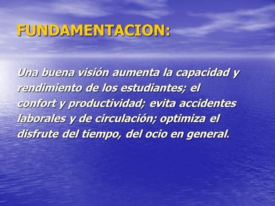 FUNDAMENTACION: Una buena visión aumenta la capacidad y