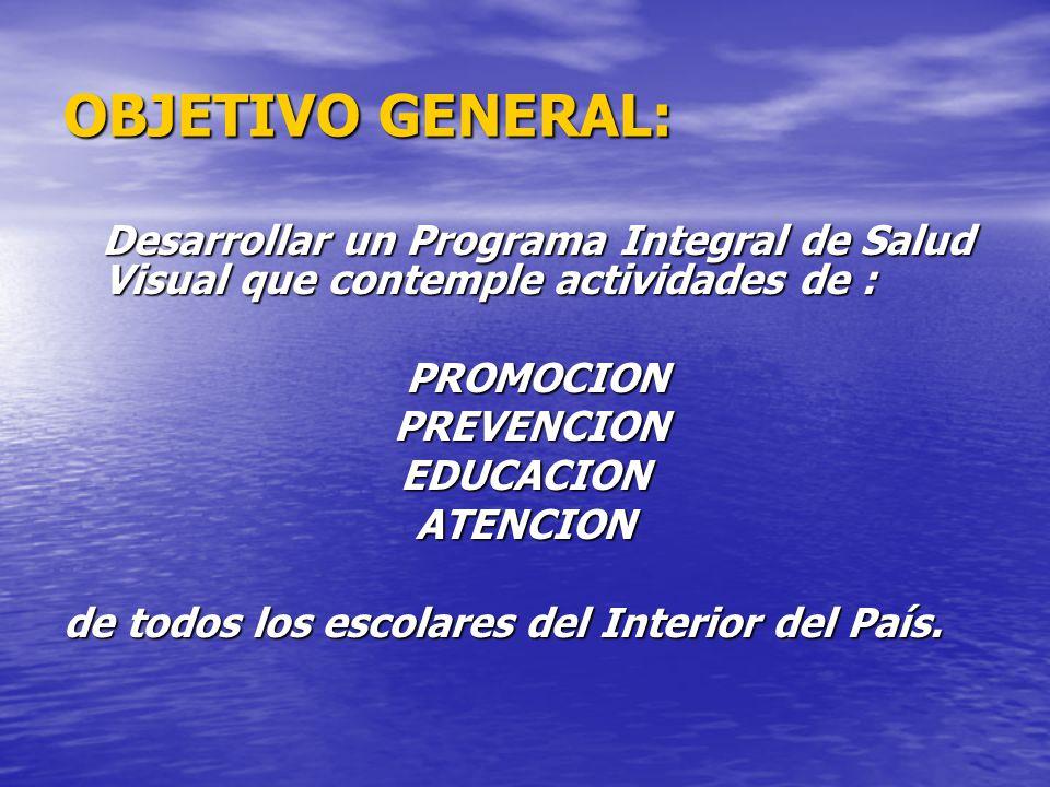 OBJETIVO GENERAL: Desarrollar un Programa Integral de Salud Visual que contemple actividades de : PROMOCION.