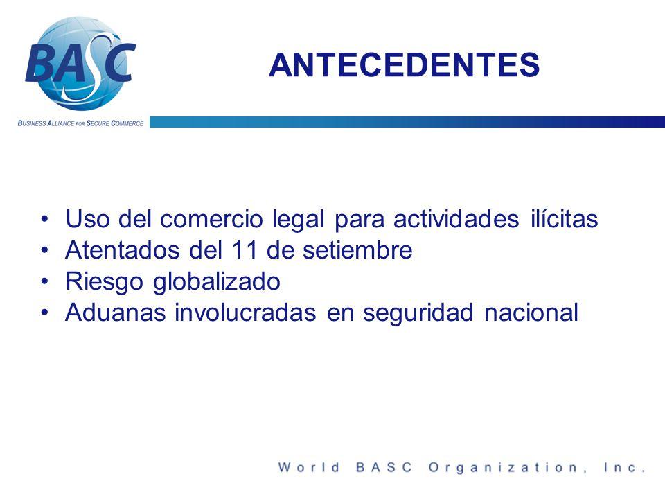 ANTECEDENTES Uso del comercio legal para actividades ilícitas