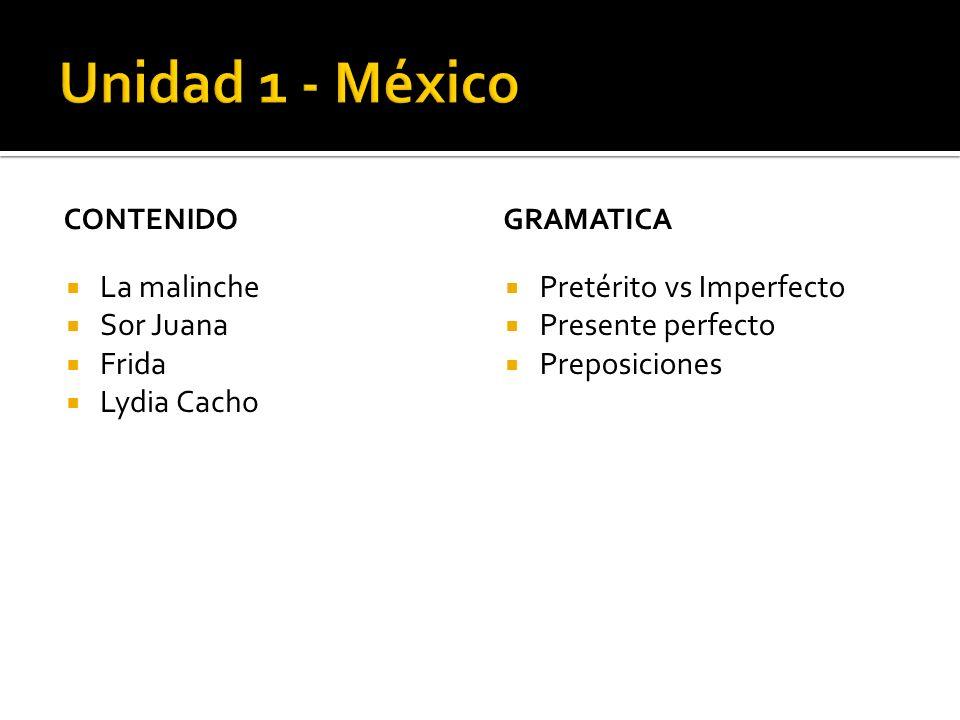 Unidad 1 - México La malinche Sor Juana Frida Lydia Cacho