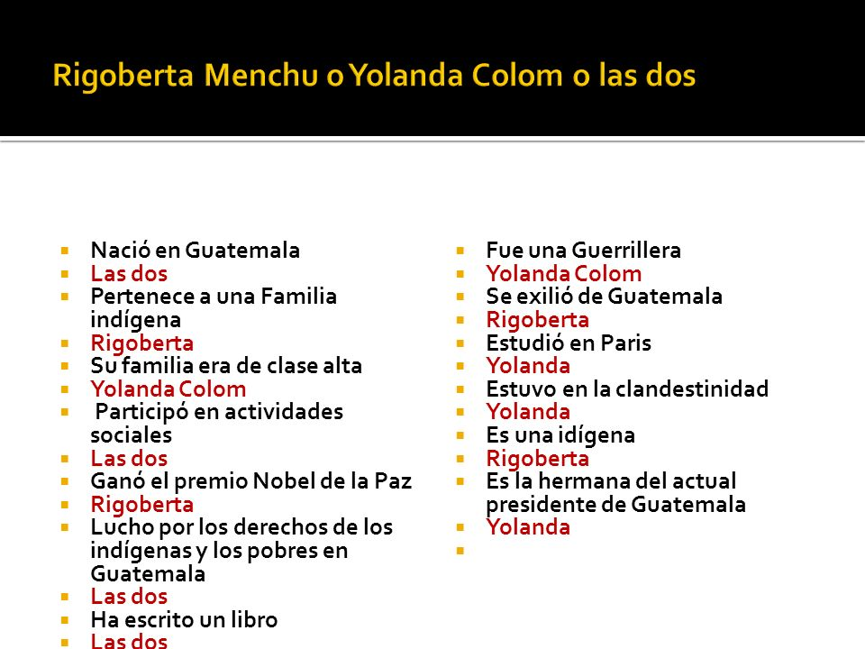Rigoberta Menchu o Yolanda Colom o las dos