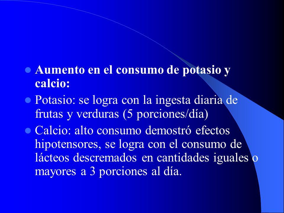 Aumento en el consumo de potasio y calcio: