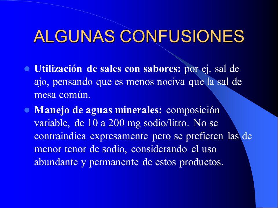 ALGUNAS CONFUSIONES Utilización de sales con sabores: por ej. sal de ajo, pensando que es menos nociva que la sal de mesa común.