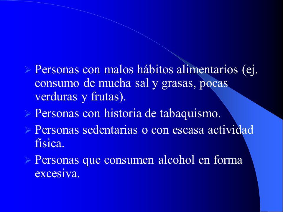 Personas con malos hábitos alimentarios (ej