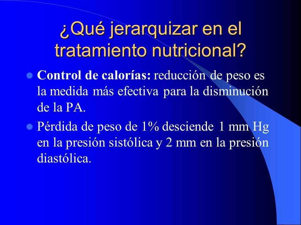 ¿Qué jerarquizar en el tratamiento nutricional