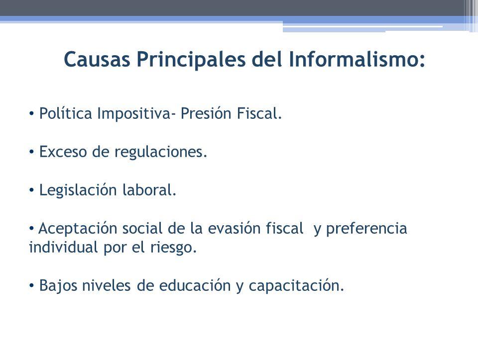 Causas Principales del Informalismo: