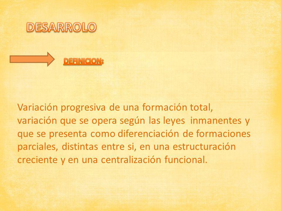 DESARROLO Variación progresiva de una formación total,