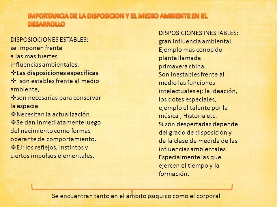 IMPORTANCIA DE LA DISPOSICION Y EL MEDIO AMBIENTE EN EL DESARROLLO