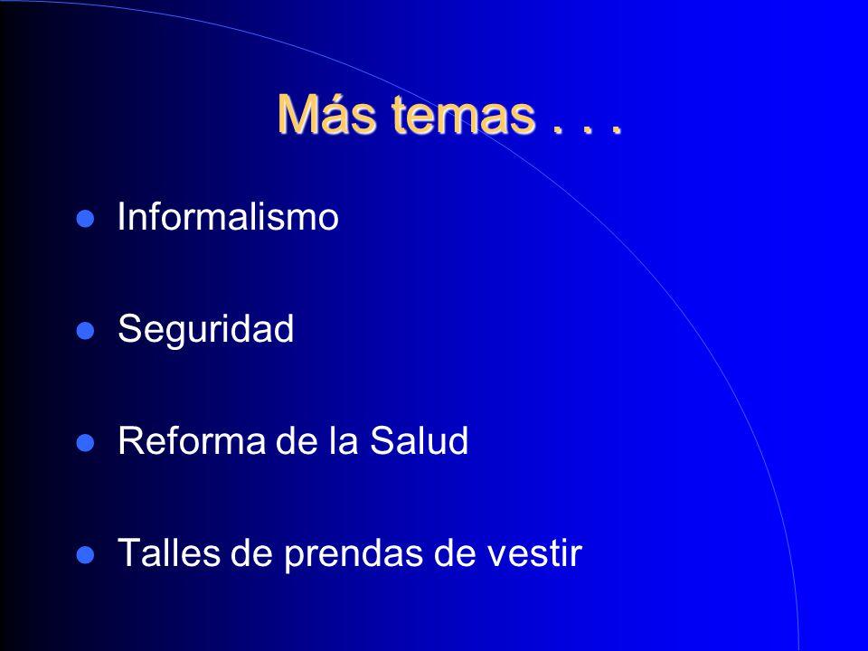 Más temas . . . Informalismo Seguridad Reforma de la Salud