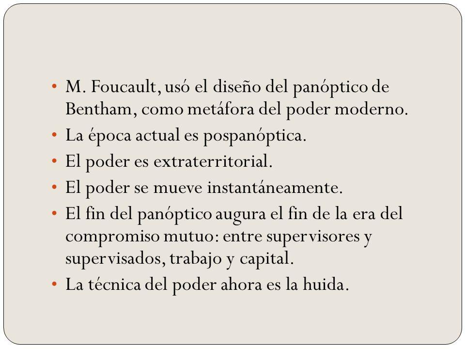 M. Foucault, usó el diseño del panóptico de Bentham, como metáfora del poder moderno.