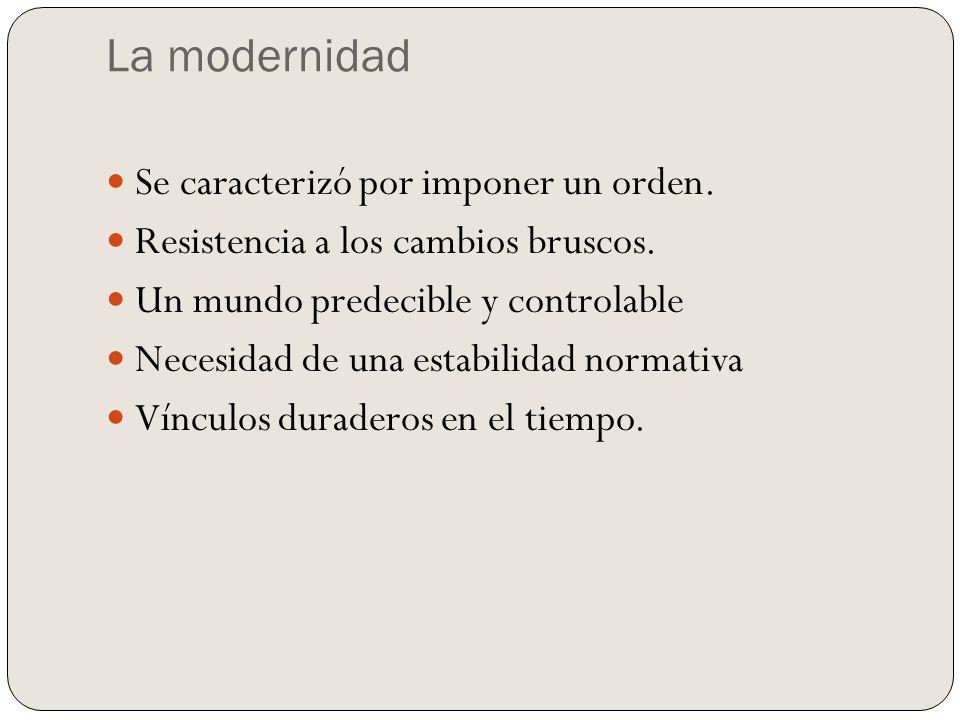 La modernidad Se caracterizó por imponer un orden.