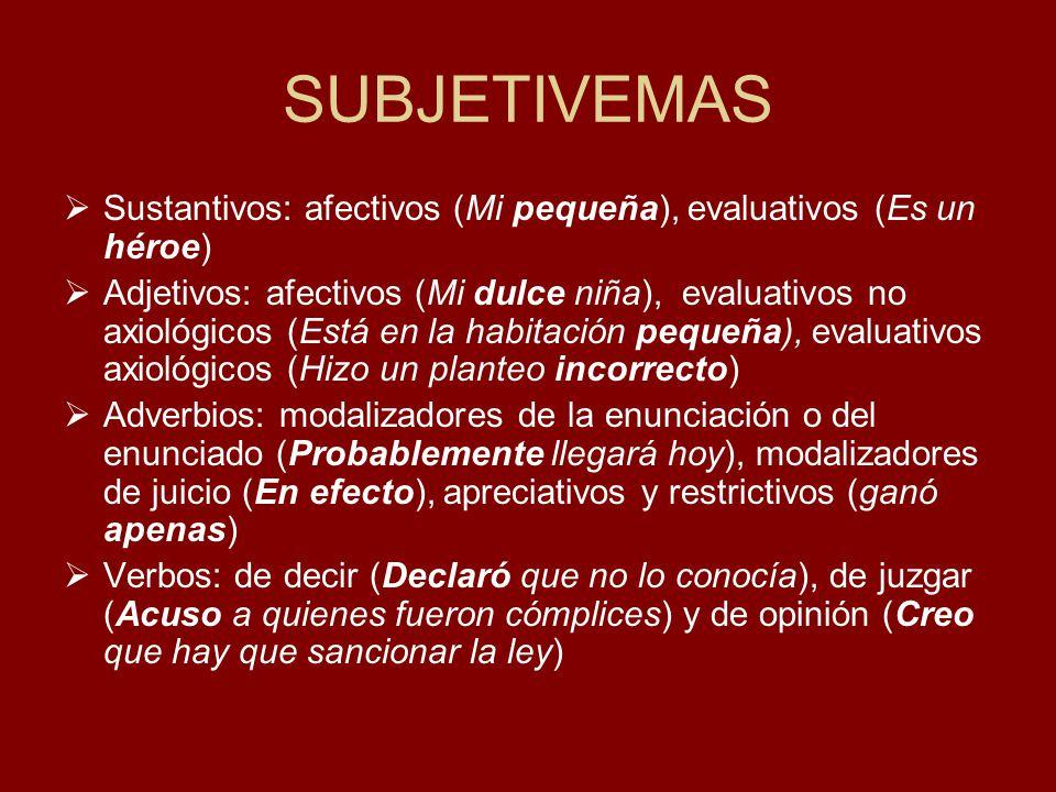 SUBJETIVEMAS Sustantivos: afectivos (Mi pequeña), evaluativos (Es un héroe)