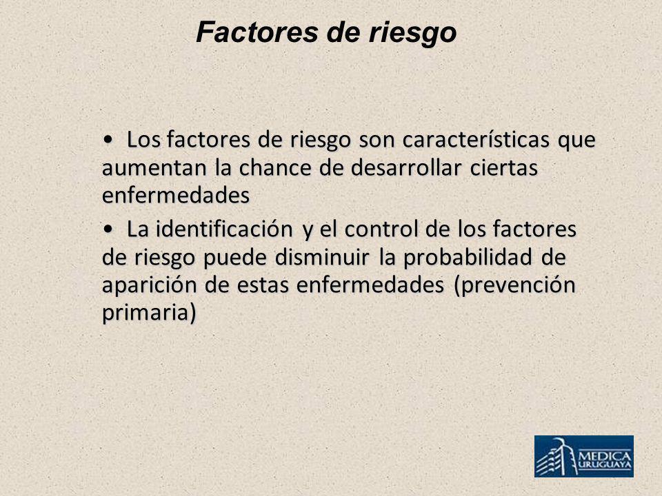 Factores de riesgo Los factores de riesgo son características que aumentan la chance de desarrollar ciertas enfermedades.
