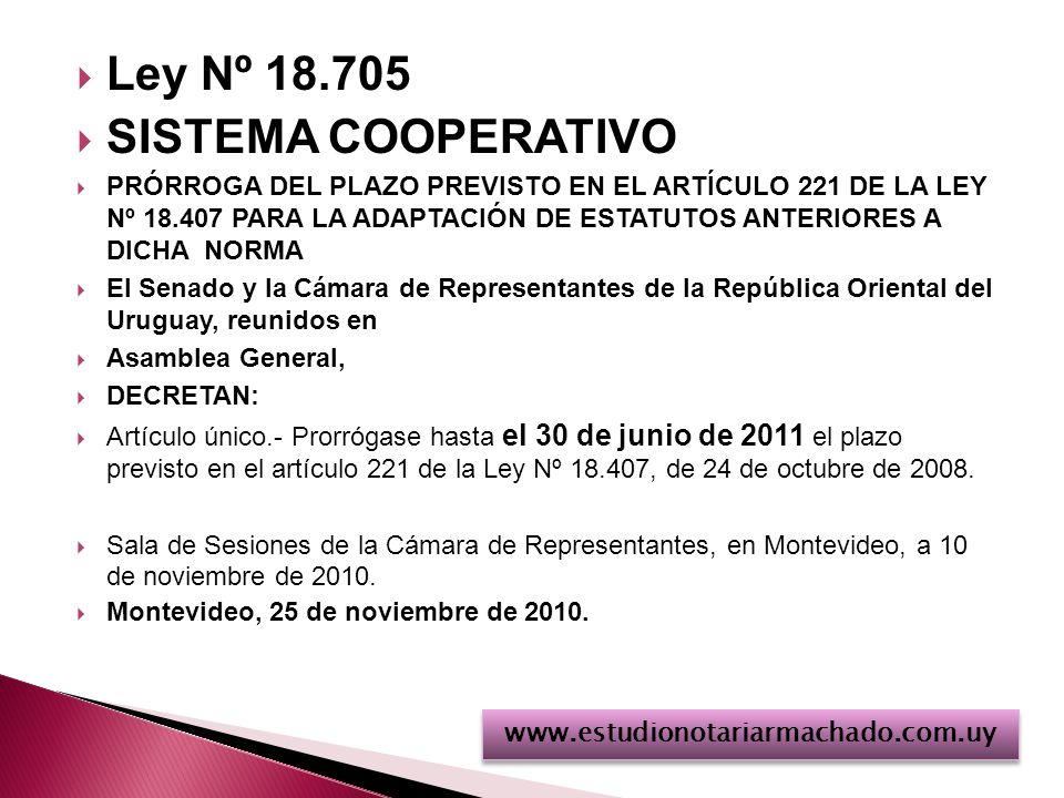 Ley Nº 18.705 SISTEMA COOPERATIVO